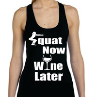 Squat Now Wine Later Ladies Bamboo Racerback Tank Top Perfect for workout Running Gym Fitness Yoga Exercise Alo Sport High Quality