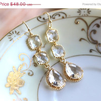 10% OFF SALE Crystal Earrings Gold Plated Clear Three Tier - Crystal Bridesmaid Jewelry - Wedding Earrings - Crystal Bridal Earrings - Chri