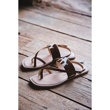 Reeba Cow Print Sandal, Brown/Cream | Chinese Laundry
