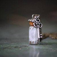 Milkweed FairyTale Vial NeckLace//Small Antique Key Necklace//White Clouds Forest Necklace///Earthy Nature Boho //Rustic Jewelry
