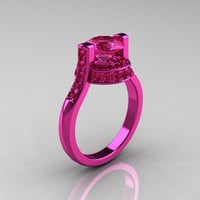 Modern Italian 14K Pink Gold 15 CT Pink Sapphire by artmasters