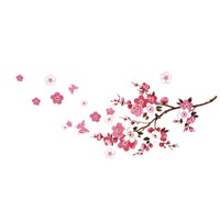 Peach Blossom Flower Butterfly Removable Art Wall Decals