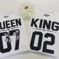 KING and QUEEN Custom number shirts, Flower numbers shirts, King queen couple shirts, couple t shirts, lovely King and Queen t shirts couple