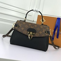 LV Louis Vuitton WOMEN'S MONOGRAM CANVAS AND LEATHER HANDBAG SHOULDER BAG
