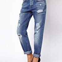 ASOS Brady Slim Boyfriend Jeans in Vintage Wash with Rips at asos.com