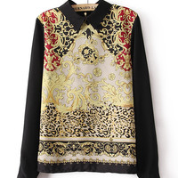 Printed Long Sleeve Blouse with Collar