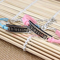 """Ancient silver bracelet """"blessing"""", New Year gift Christmas bracelet, send blessings to each friend"""