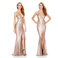 Luxury Sexy Women's Sequins Split Mermaid Dress Solid Sequined Spaghetti Straps Backless Cocktail Party Long Dresses Slim Gown