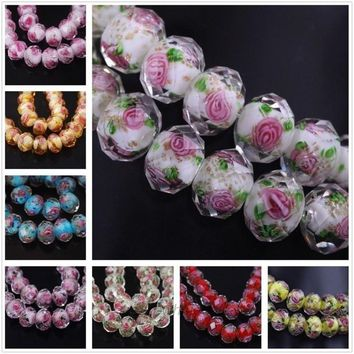 10Pcs Lampwork Faceted Flowers Glass Beads Charm Accessories for DIY Jewelry Making Bracelet Pendant Necklace