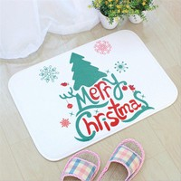 Christmas Bath Mats Flannel Printing Bathroom Rug Toilet Water Absorption Antiskid Floor Mat