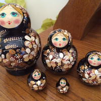 Russian nesting doll Golden Wheat 5 pcs nested doll Matreshka hand made wood Russian doll christmas gift Russian wood toy stacked doll