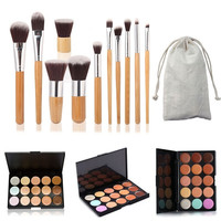 15 Colors Contour Face Cream Makeup Concealer Palette + 11PC Bamboo Brush Set = 1946646724