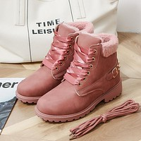 Fashionable medium barrel thick heel snow boots cotton boots size with pile warm female Martin boots