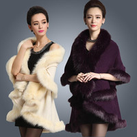 2015 New Fashion Long Wool Cashmere Faux Fox Fur Coat Cardigan Women Poncho  Knitted Sweater Women Scarves