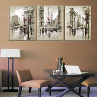 Modern Style Abstract Oil Painting Canvas Retro City Street Landscape Oil Pictures Decorative Painting Wall Art No Frame 3 Piece