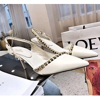 Valentino Stylish Women Rivet Pointed High Heels-Heeled Shoes Sandals White