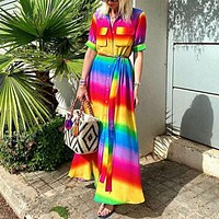 2020 New Products Women's Mid-Sleeve Rainbow Dress Casual Long Skirt