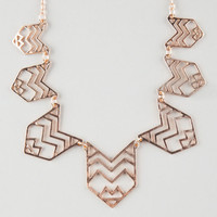 Full Tilt Tribal Cutout Statement Necklace Gold One Size For Women 25910071301