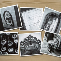 Things Found in Old Houses, Set of Six Themed Photographs on Card Stock, PhotoSquares