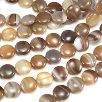 brown sardonyx beads - brown banded agate gemstone - stripe agate coin beads - brown gemstone beads -  jewelry making supplies -15inch
