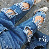 Fashion Personality Hollow Ripped Worn Jeans Trousers Women Pants