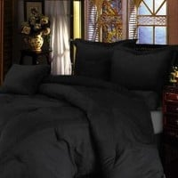 """Chezmoi Collection 7 Pieces Solid Black Microsuede Comforter 86""""x88"""" bed-in-a-bag Set Full Size"""
