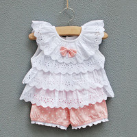 Infant clothing female baby clothes children's clothing 0-24months princess suits summer set lovely baby girls set vest+shorts free shipping
