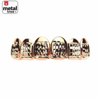 Jewelry Kay style Hip Hop Bling Grillz Rose Gold Plated Diamond Cut Two Tone Top Teeth L001 C1 RG