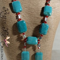 Chalk Turquoise and Red Swarovski Crystals Unique Look Necklace Set