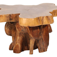 Teak Abstract End Table