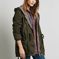 Free People Womens Solid Knit Mixed Cargo Jacket