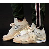 Air Jordan 4 x Off-white Bred mid-top men and women sports running shoes