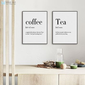Modern Black White Food Coffee Quotes A4 Posters Nordic Kitchen Living Room Wall Art Picture Home Decor Canvas Painting No Frame 1
