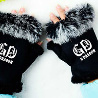 Kpop bigbang gd g-dragon printing fashion mittens winter unisex cony hair gloves warm cute guantes mujer size adjustable