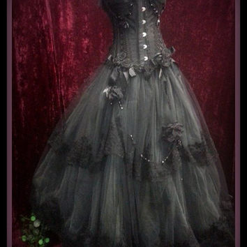 Stunning Black and Charcoal Wedding Bridal Formal Prom Gown Dress Gothic Parisian ONE OF A KIND !!!!!!!!!!!!!!!!!!!!!!!!!!!!