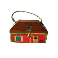 Folk Art House Box Purse From Houses By Hitchcock - Vintage Handbag - Collectible Purse - Hand Painted Purse - Vintage Box Purse