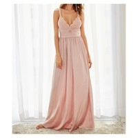 Blush Pink Satin and Lace Details Maxi Dress with back bow