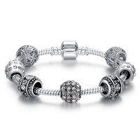 Silver Tone Bracelet for Women With High Quality Glass Beads