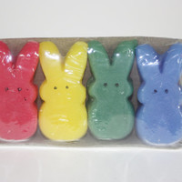 Marshmallow Bunny candle Tart, Easter Candle, Set of Four
