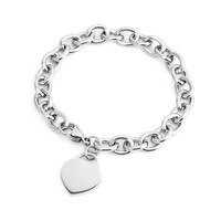 women bracelet JEWELRY heart tag bracelet Rolo cable femme with tags Stainless Steel bangle for couples Chain & Link Bracelets