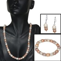 """Pink Peach & White Cultured Freshwater Pearl Necklace Earrings Bracelet 8MM 18"""""""
