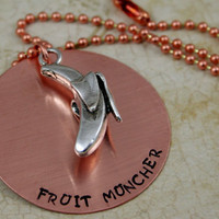 """Handstamped Copper Necklace with Banana Charm  Vegan Jewelry """"Fruit Muncher"""""""