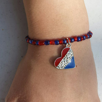 Patriotic Red Blue Beaded Stretch Bracelet with Heart Pendant. Handmade Jewelry. 4th of July.