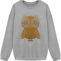 Owl Pattern Knitted Sweatshirt in Grey or White