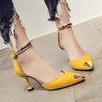 Pointed Toe Low Cut Ankle Wrap Stiletto Low Heels