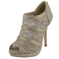 Womens Ankle Boots Mesh Rhinestone Strappy Platform Dress Shoes Nude