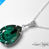 Swarovski Emerald Green Pendant Wedding Mother of the Bride Gift Necklace 925 Sterling Silver Chain Cubic Zirconia FREE US Shipping