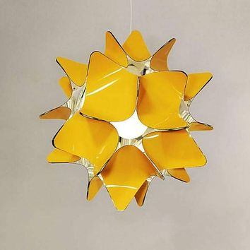 Beautiful lampshade chandelier lighting with glossy light reflective inner layer. Geometric sphere lamp in many colors