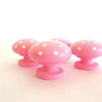 Polka Dot Cabinet Knobs, Pink & White handles knob, Hand Painted Wood Wooden round dresser door drawer knobs, Nail covers, Furniture pulls