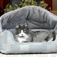 Hooded Lounger Pet Bed - Teal